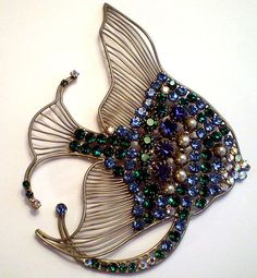 "RARE HUGE 5"" COUNTESS CIS FRANCE ANGELFISH BROOCH FRENCH BIJOUX COUTURE"