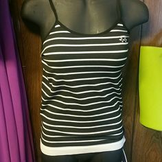 Very cute top Black and white stripped top.  Little white heart designs on bust. Very stretchy. Tops Tank Tops