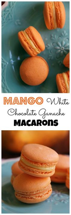 Get a taste of the tropics with these mango white chocolate ganache macarons! Their crisp almond shell gives way to a creamy, fruity decadent ganache filling. A delicious (in both appearance and taste) recipe by perfect for a spring baby shower. Baking Recipes, Cookie Recipes, Dessert Recipes, Baking Desserts, Just Desserts, Delicious Desserts, Almond Shell, White Chocolate Ganache, Macarons Chocolate