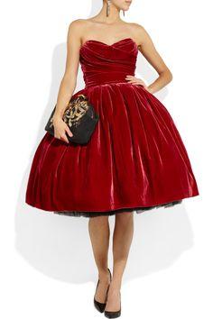 LOVE, LOVE, LOVE!!  Dolce & Gabbana|Strapless velvet dress|NET-A-PORTER.COM