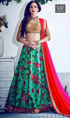 Paramount Banglori Silk A Line Lehenga Choli This green banglori silk a line lehenga choli is adding the beautiful glamorous displaying the sense of cute and graceful. The embroidered, lace and print work appears chic and ideal for any get together. Comes with matching choli and dupatta