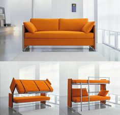Dislike the color, but great idea for a sofa that converts into a bunkbed