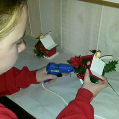 More of the finishing touches on the first pieces of our decorative birdhouse line!