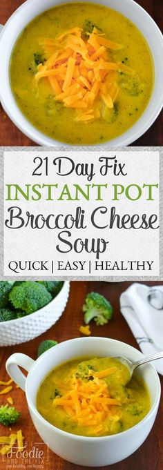 This 21 Day Fix broccoli cheese soup {Instant Pot | Stovetop} is made without any milk or cream and is still creamy, velvety, and deliciously healthy comfort in a bowl. Quick, easy, gluten free and kid-friendly! #instantpot #21dayfix #quick #easy #dinner
