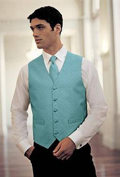 dusty aqua necktie and vest    forgot where i got this though