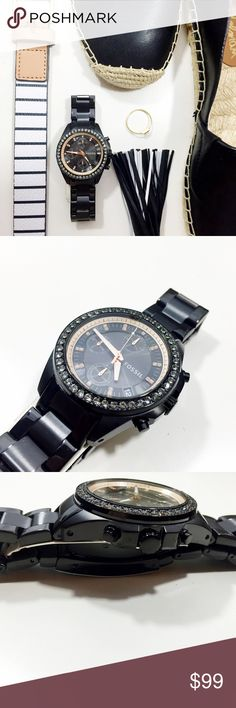 Black/Rose Gold Crystal Accent Chronograph Watch Black stainless steel with rose gold and crystal accents. 38mm diameter face. 18mm band width. Brand new in box. Fossil Accessories Watches