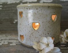 Heart Luminary  Pottery Candle Jar  Hand by BRobertsonPottery (Home & Living, Home Décor, Candles & Holders, Candleholders, candle, candle holder, votive, rustic, luminary, outdoor lighting, handmade pottery, lighting, tealight, heart, mothers day, mom, love)
