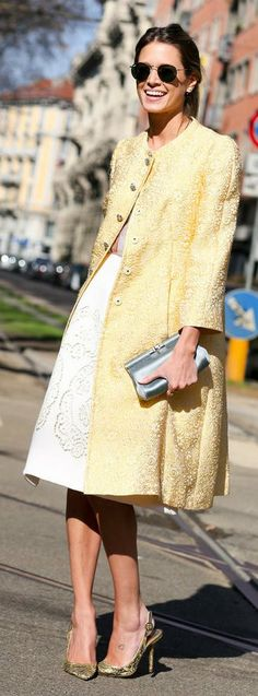 Milan Fashion Week Street Style : Show-Goers Get Graphic Trendy Fashion, Spring Fashion, Fashion Looks, Womens Fashion, Fashion Trends, Fashion 2014, Street Style Chic, Milan Fashion Week Street Style, Style Casual