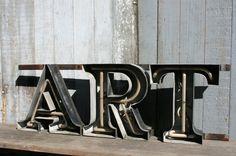 Old neon sign  ART   Channel letter  salvage door MarketForTheCool