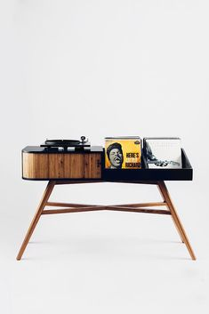The Vinyl Table: A Mid-Century Modern Record Player Cabinet with Tambour Door Record Player Cabinet, Record Shelf, Vinyl Record Storage, Modern Record Player, Record Players, Record Table, Estilo Retro, Brainstorm, Mid-century Modern
