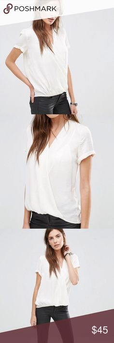 ASOS Vila Wrap Front Blouse Super cute wrap top in off white with short sleeves. Worn a couple of times over summer to work. No issues! ASOS Tops Blouses