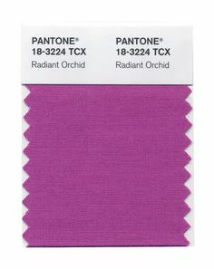 This photo provided by Pantone shows the Radiant Orchid color swatch for Pantone. Pantone's Radiant Orchid, selected as color of the year will, in theory, will have a strong presence in fashion, beauty, home design and consumer products. Photo: Pantone, AP / Pantone
