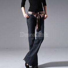 Women's OL Style Wide-leg Pants Jeans Trousers Dark Blue #dresslink#fashion#girls