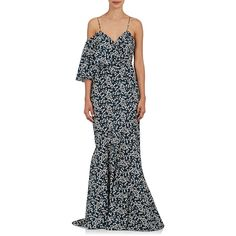 Zac Posen Women's Floral Cotton Poplin Gown ($1,990) ❤ liked on Polyvore featuring dresses, gowns, v neck gown, floral print evening gown, v neck sleeveless dress, floral print gowns and floral print dress