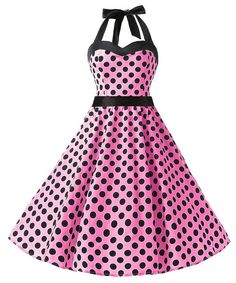 ff52f5ac6418 Dresstells® Halter 50s Rockabilly Polka Dots Audrey Dress Retro Cocktail  Dress: Amazon.co.uk: Clothing