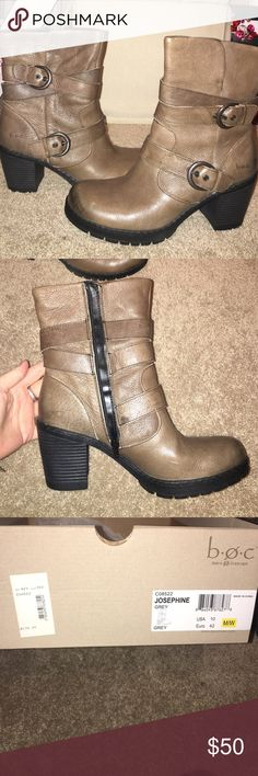 b.o.c boots Box says they are grey, but have a more brown hue to them. Size 10. Hardly worn. b.o.c. Shoes