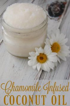 Chamomile Infused Coconut Oil - Super simple and you can even use tea bags! Great for soothing dry skin. #coconutoil #chamomile #eczema #moisturizer #naturalskincare Coconut Oil Lotion, Coconut Oil For Acne, Coconut Oil Uses, Benefits Of Coconut Oil, Organic Coconut Oil, Coconut Oil For Moisturizer, Coconut Oil Diaper Rash, Natural Moisturizer, Super Simple