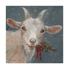 """Trademark Fine Art Mary Miller Veazie """"Goat with Holly"""" Canvas Art at Lowe's. This ready to hang, gallery-wrapped art piece features a goat holding holly in its mouth. Giclee (jee-clay) is an advanced printmaking process for Noel Christmas, Christmas Animals, Artist Canvas, Canvas Art, Canvas Size, Canvas Fabric, Illustrations, Animal Paintings, Goat Paintings"""