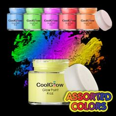 Cool glow paint for applying to mason jars and setting out in the garden for night lighting http://coolglow.com/1/51/51/Glow-Paint/