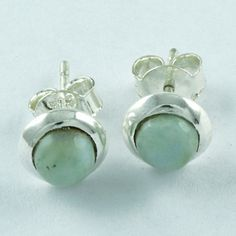 Exotic Design Real 925 Sterling Silver Larimar Stone Studs Earring E3506 #SilvexImagesIndiaPvtLtd #Stud