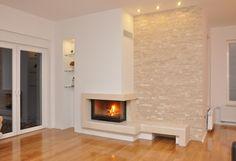 Uredi svoj dom - web portal o kulturi življenja Home Fireplace, Fireplace Remodel, Fireplace Design, Stone Wall Living Room, Living Room Designs, House Plans, Sweet Home, Art Deco, Home And Garden