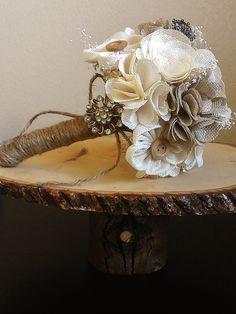 Rustic Chic Burlap Bouquet - bouquet - alternative bouquet - rustic chic bouquet - small bouquet - burlap. $138.00, via Etsy.