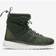 Green Nike roshe sneaker boot Never worn ever. Brand new. I got these but it never snows in Texas so I have no use.  NO TRADES ON THESE, super hard to find and have a high retail value. I also still adore them completely! Nike Shoes Athletic Shoes