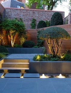 Landscape Lighting Idea for Water Modern Landscape Lighting Design Ideas Bringing Beauty and Security into Homes 31 Creative Ideas Of Landscape Lighting for Dramatic Ba. Small Garden Landscape, Small Backyard Gardens, Small Backyard Landscaping, Landscape Plans, Modern Landscaping, Outdoor Gardens, Landscaping Ideas, Outdoor Patios, Modern Backyard
