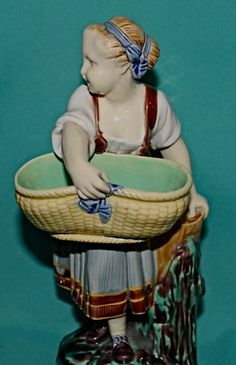 Pair Minton Majolica Figures Boy and Girl with Baskets c.1863