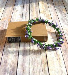 Lavender Lilac Floral Crown Halo, Lavender Flower Headband Halo , Flower Crown, Wedding Headpiece, Bridesmaid headpiece, flower girl