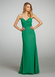 Stylejh5304 Jade crinkle chiffon bridesmaid gown over Rose lining, criss cross draped bodice, natural waist.