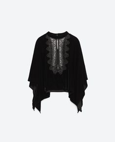 VELVET TOP WITH EMBROIDERED BIB FRONT-Lace-Tops-WOMAN | ZARA United States