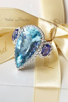Blue Topaz Tear Drop Ring Surrounded by Diamonds + Blue Sapphires