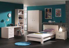 LOBKE - Une chambre de jeune vraiment élégante et complète, avec beaucoup de rangements possible pour aider votre jeune à ne jamais perdre ses affaires  | Meubles Toff
