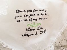 Embroidered Wedding Handkerchief  Woman of My by TheBrideandGroom, $18.00