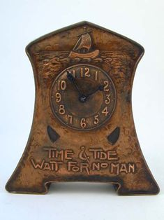 "- Designer – Unknown – Description – Arts & Crafts copper clock – ""Time & Tide Wai… Designer – Unknown – Description – Arts & Crafts copper clock – ""Time & Tide Wait For No Man"" - Art Nouveau, Art Decor, Decoration, Time And Tide, Arts And Crafts Furniture, Cool Clocks, Art And Craft Design, Craftsman Style, Craftsman Clocks"