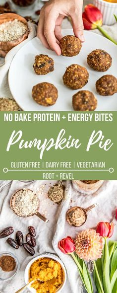 TheseNo Bake Energy Bites: Pumpkin Pie Protein Balls are a delicious and gluten free snack or breakfast bursting with fiber, protein and Vitamin A.