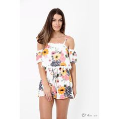 12a4c4e1b0 Ladies white floral print double layer off the shoulder playsuit wholesale  - Women s Wholesale Clothing Supplier