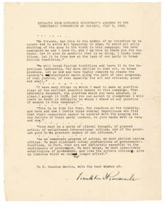 Six paragraphs extracted from Franklin D. Roosevelt's acceptance speech at the Democratic convention in Chicago, on July 2, 1932, signed by FDR. $7,500