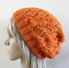 Lacy beret slouchy hat orange autumn pumpkin fox wool hand knitted women foxy | BABOOM | madeit.com.au