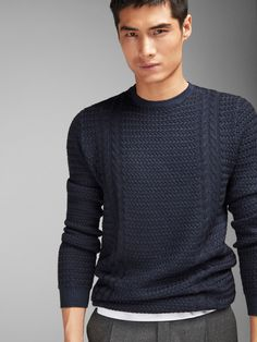 Round neck Sweaters - Sweaters and Cardigans - MEN - Massimo Dutti Knitwear Fashion, Knit Fashion, Mens Fashion, Mens Knit Sweater, Cable Knit Sweaters, Friend Outfits, Men Formal, Mens Jumpers, Casual Outfits
