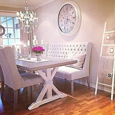 90 Amazing Small Dining Room Decor Ideas - Home Dining Room Design, Dining Room Table, Dining Area, Dining Rooms, Dining Decor, Settee Dining, Banquette Dining, Shabby Chic Dining Room, Table Bench