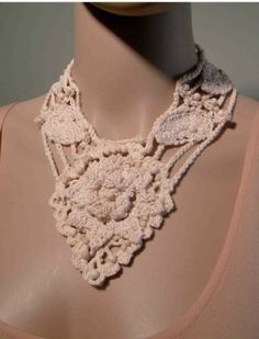 irish crochet motifs   ... TIMELESS NECKLACE - Irish Lace Crochet Motif, Handmade Fine Thread