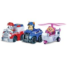 Race to the ruff-ruff rescue with Paw Patrol Rescue Racers With real working wheels Chase Marshall and Skye race into action. Cruise with the Paw Patrol by collecting all of the Paw Patrol. Ryder Paw Patrol, Paw Patrol Rescue, Paw Patrol Toys, Paw Patrol Cupcakes, Paw Patrol Cake, Paw Patrol Birthday, Transformers 4, Baby Toys, Kids Toys