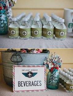 Beverages: Customized water-bottle signage and cute straws went with the aviation theme.