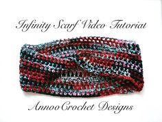 Crochet Infinity Scarf Free Video Tutorial By AnnooCrochet Designs