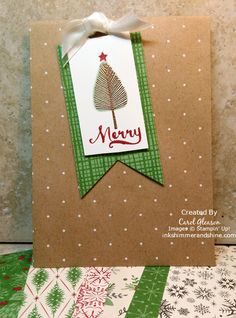 Treat bag with Stampin' Up! Totally Trees and Jar of Cheer stamp sets, Banner Framelits, Scalloped Tag Topper punch and This Christmas paper.