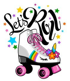Let's Roll Unicorn roller skate. Gift for girls. Art Print by inclipart Unicorn Birthday Parties, Unicorn Party, Quad Roller Skates, Roller Derby, Roller Skating Party, Roller Disco, Lets Roll, Affinity Photo, X Games
