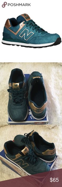 New Balance Metallic 574 Sneakers New Balance limited edition 574 sneakers are dark teal with rose gold accents. New Balance Shoes Sneakers
