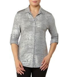 c1499d40caf Shop for Allison Daley 3 4 Sleeve Button Front Foil Knit Blouse at Dillards.